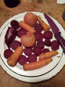 steamed carrots and beets