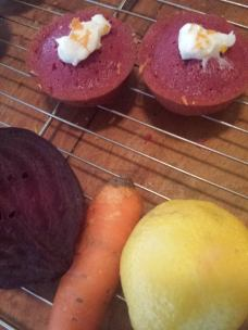 grated carrot and lemon on beet cake