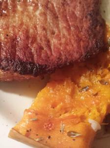 roasted butternut and fried pork