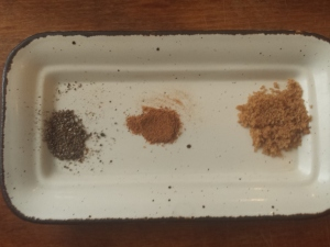 cardamom, nutmeg and cinnamom with brown sugar