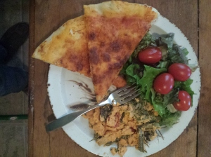 dinner plate pizza salad and rabe casserole