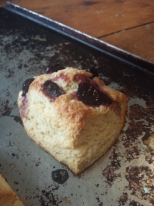 1 scone on the cookie sheet