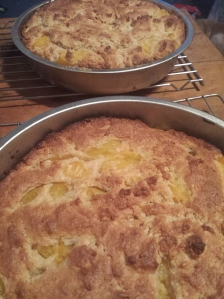 peach cakes cooling