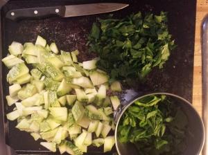 prep for au gratin. zucchini, spinach, celery leaves