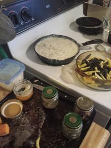 making mushroom soup for my beans