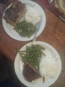 ribs rice n green beans
