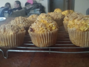side view of muffins