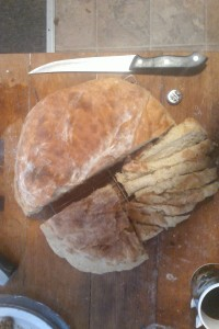 giant loaf of homemade bread