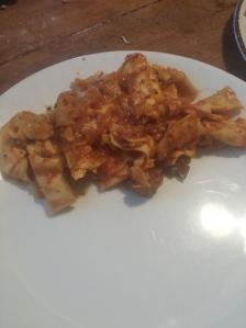 broken up lasanga noodles cooked in homemade veggie red sauce