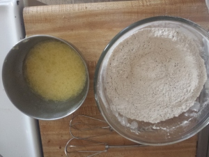 dry and wet mix for lemon poppy seed muffins