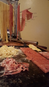 making beet pasta